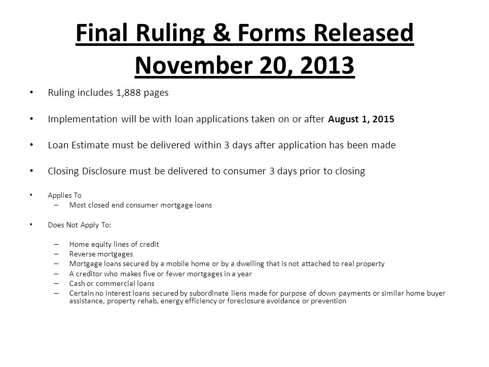 Final Ruling & Forms Released November 20, 2013