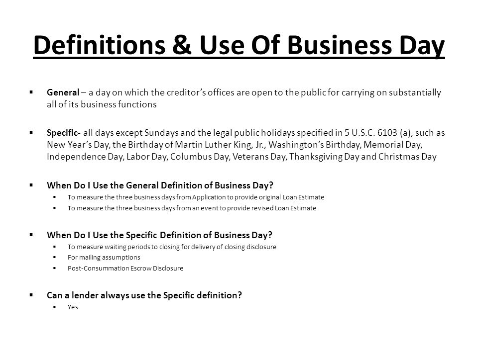 Definitions & Use Of Business Day