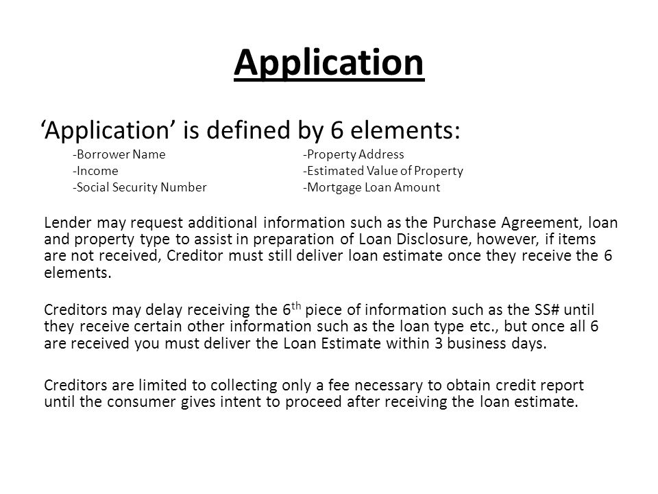 Application 'Application' is defined by 6 elements: