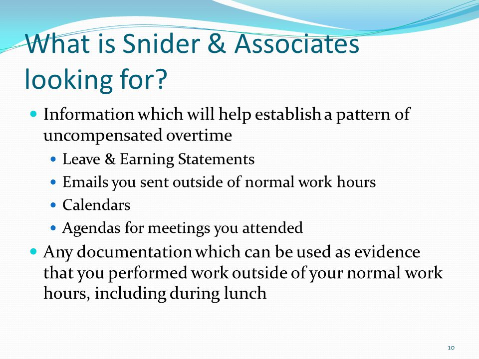 What is Snider & Associates looking for
