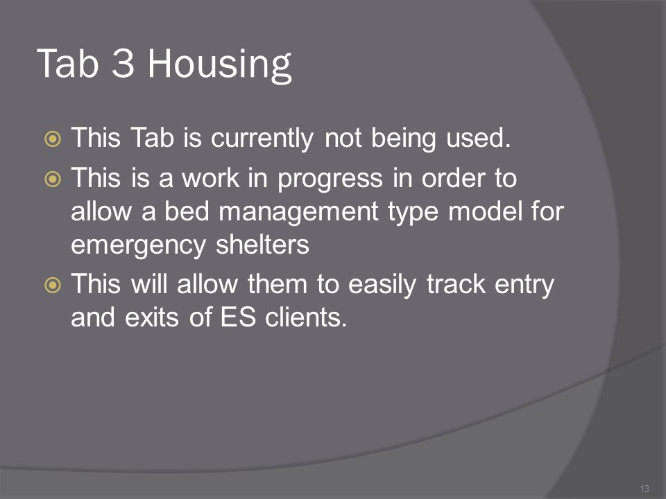 Tab 3 Housing This Tab is currently not being used.