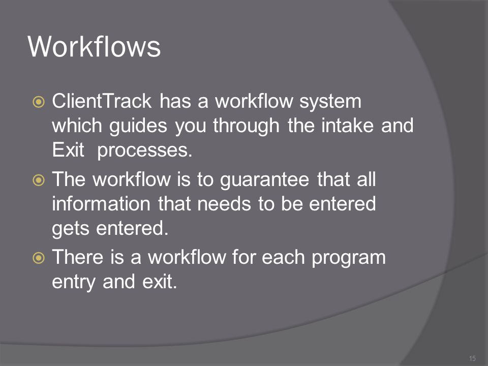 Workflows ClientTrack has a workflow system which guides you through the intake and Exit processes.