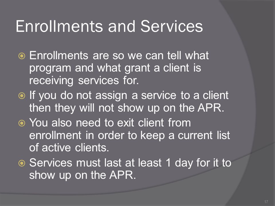 Enrollments and Services