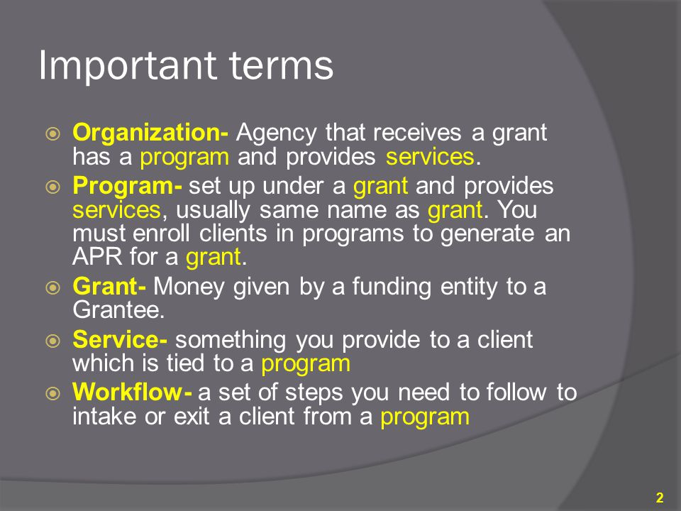 Important terms Organization- Agency that receives a grant has a program and provides services.