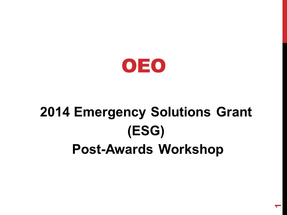 2014 Emergency Solutions Grant