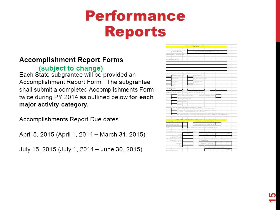 Performance Reports Accomplishment Report Forms (subject to change)