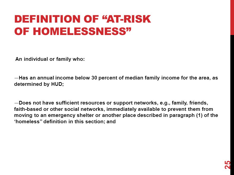 Definition of at-risk of homelessness