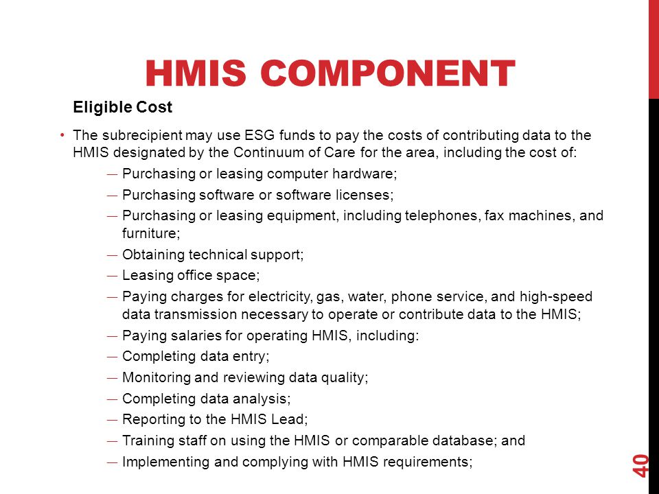 HMIS Component Eligible Cost