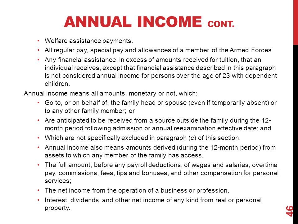 Annual Income Cont. Welfare assistance payments.
