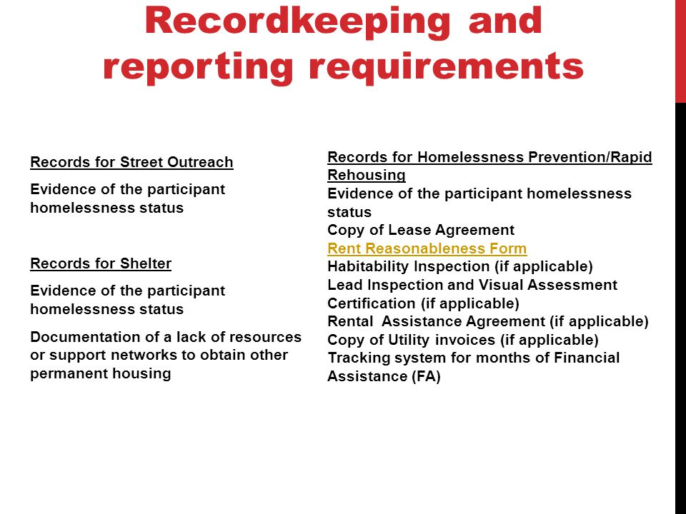 Recordkeeping and reporting requirements