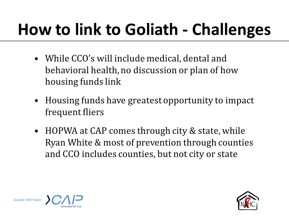 How to link to Goliath - Challenges