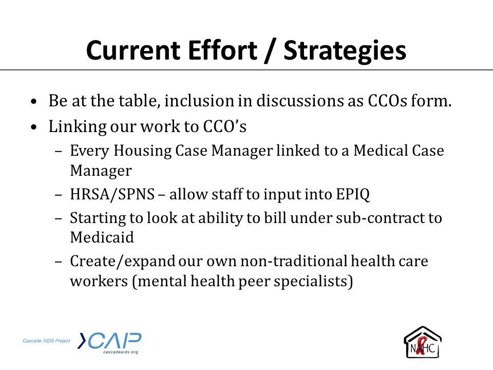 Current Effort / Strategies