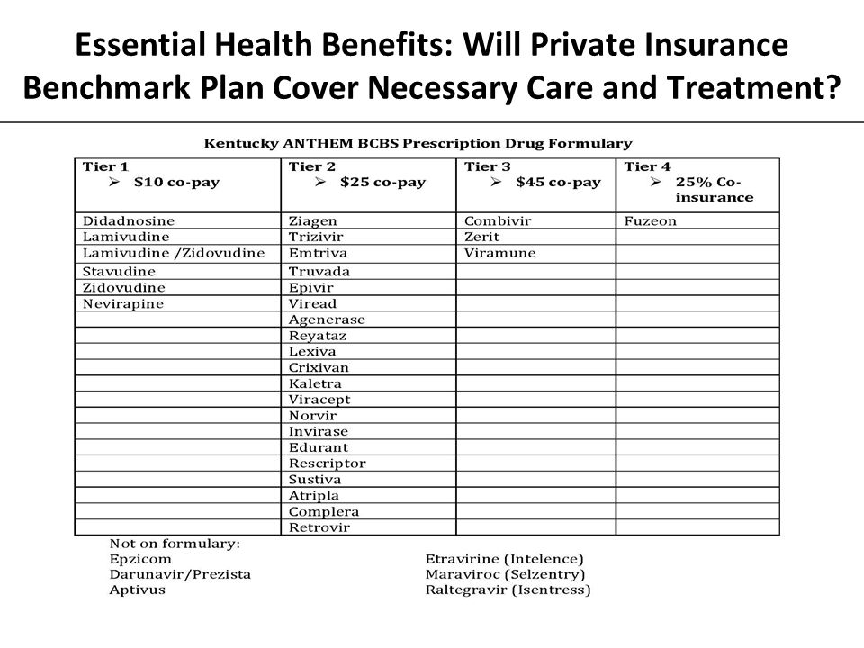 Essential Health Benefits: Will Private Insurance Benchmark Plan Cover Necessary Care and Treatment