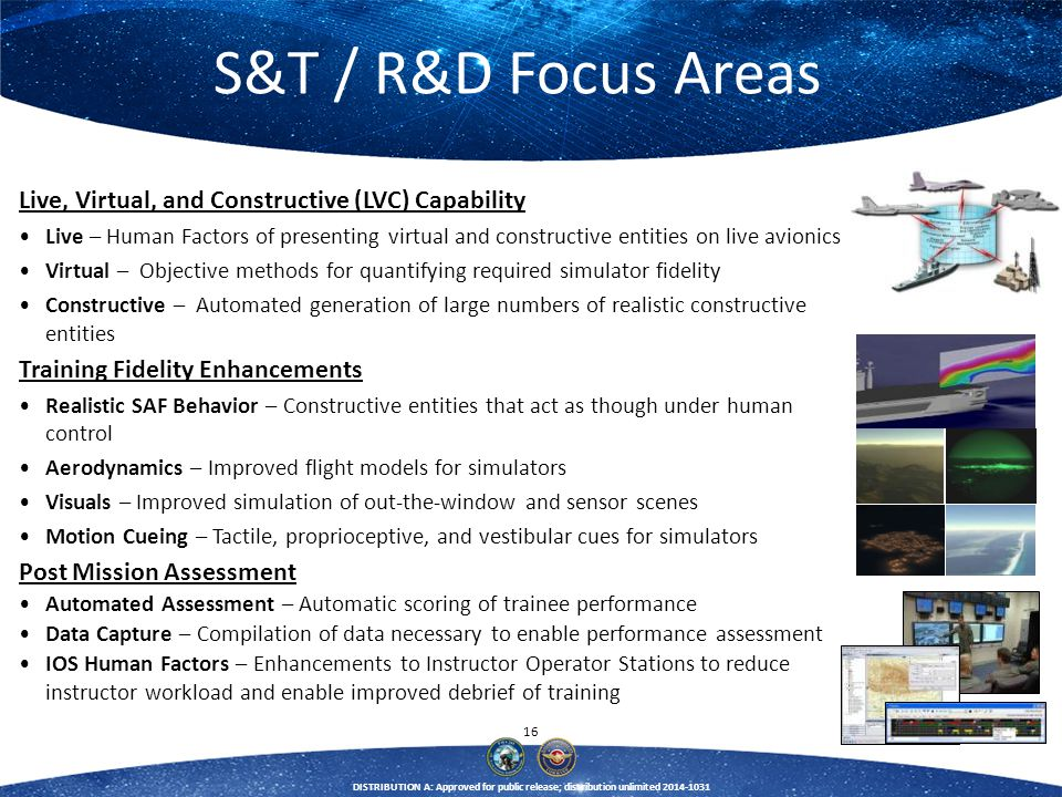 S&T / R&D Focus Areas Live, Virtual, and Constructive (LVC) Capability