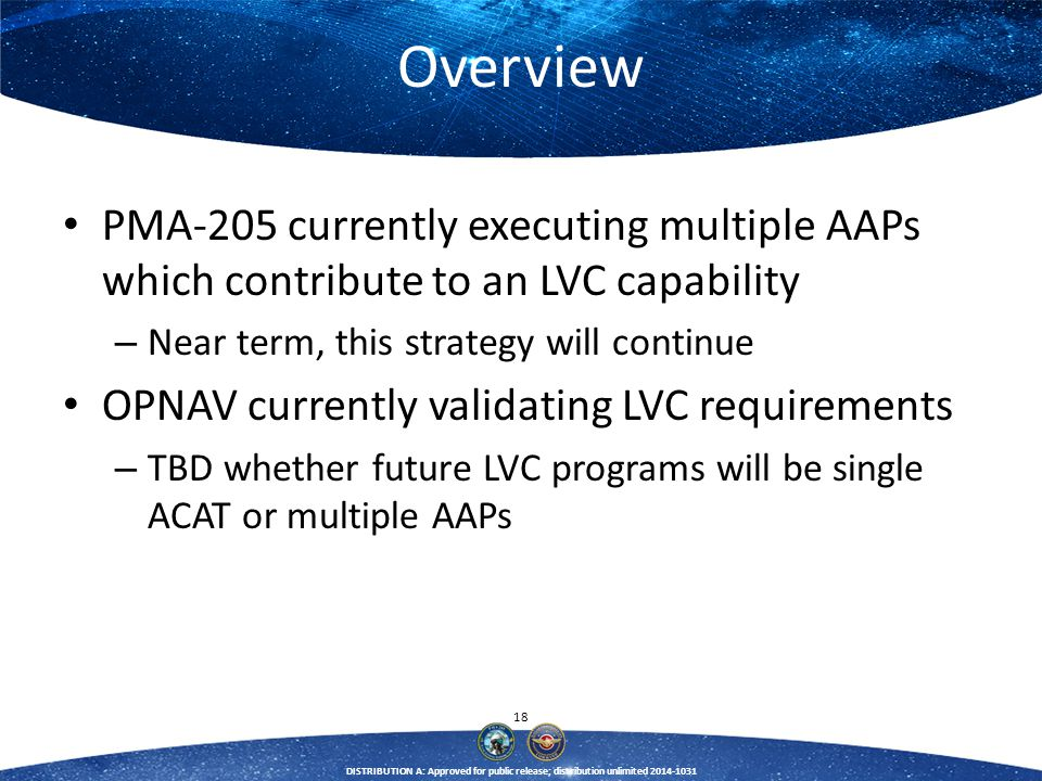 Overview PMA-205 currently executing multiple AAPs which contribute to an LVC capability. Near term, this strategy will continue.