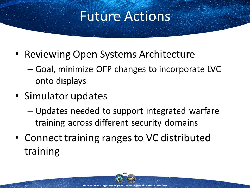 Future Actions Reviewing Open Systems Architecture Simulator updates