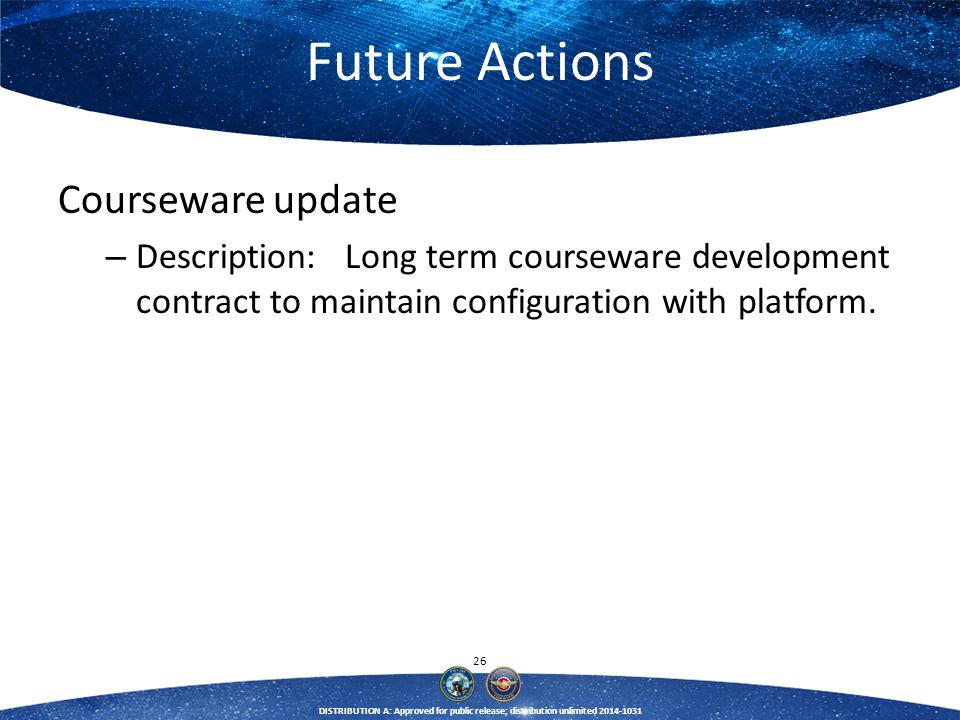 Future Actions Courseware update