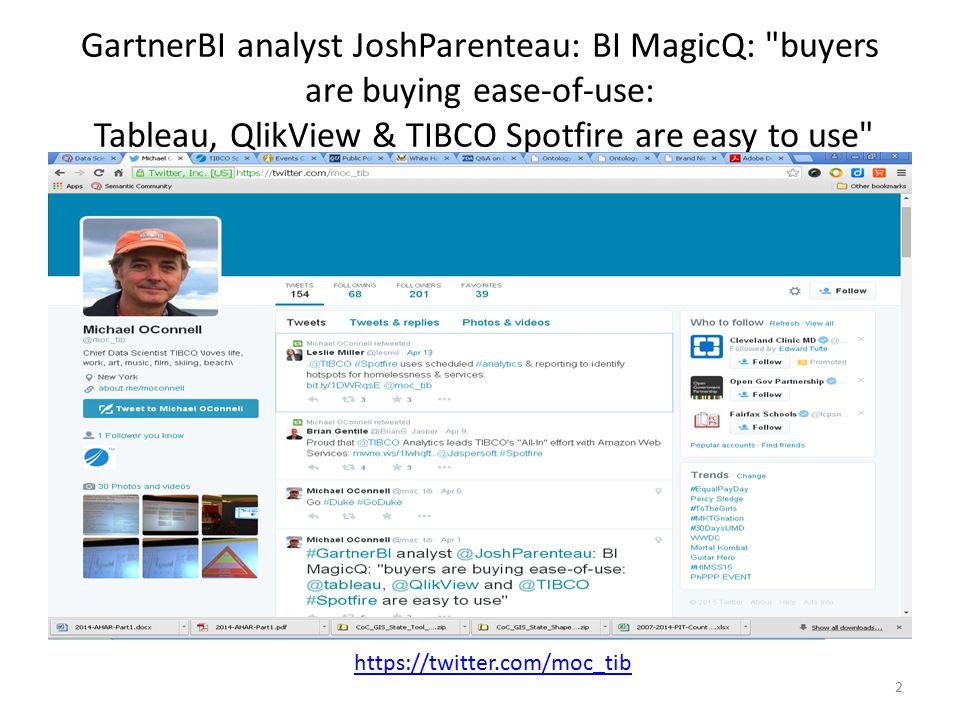 GartnerBI analyst JoshParenteau: BI MagicQ: buyers are buying ease-of-use: Tableau, QlikView & TIBCO Spotfire are easy to use
