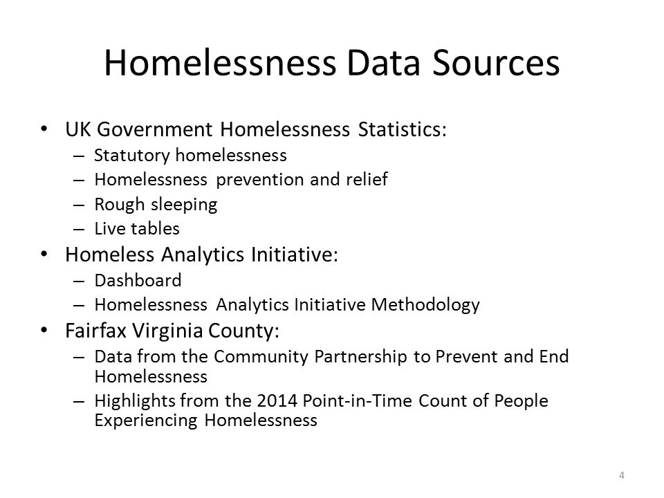 Homelessness Data Sources