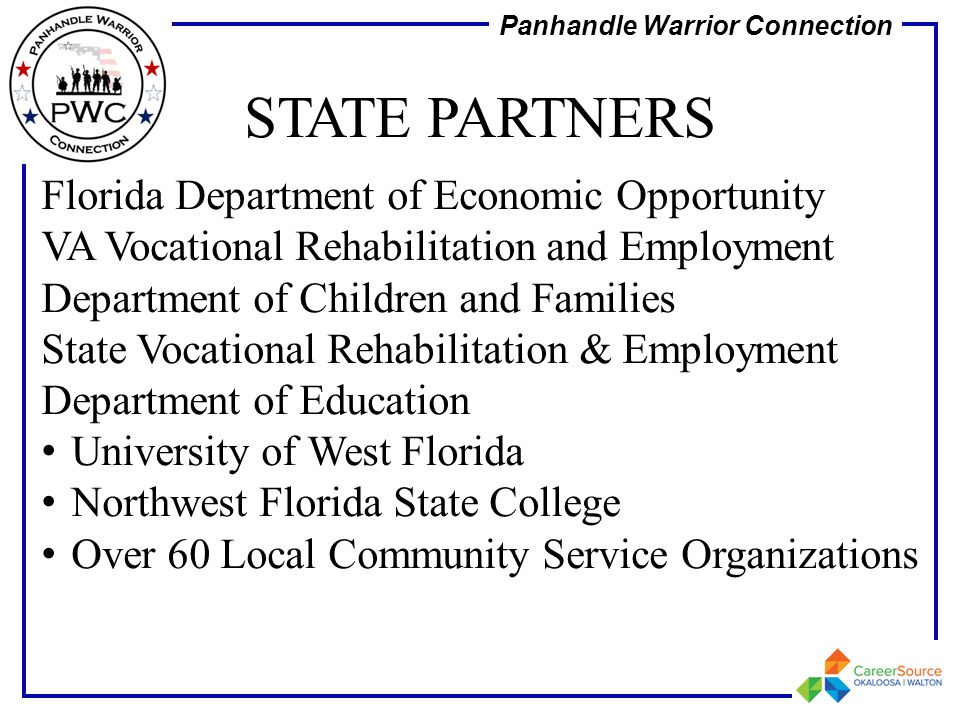 STATE PARTNERS Florida Department of Economic Opportunity VA Vocational Rehabilitation and Employment Department of Children and Families.