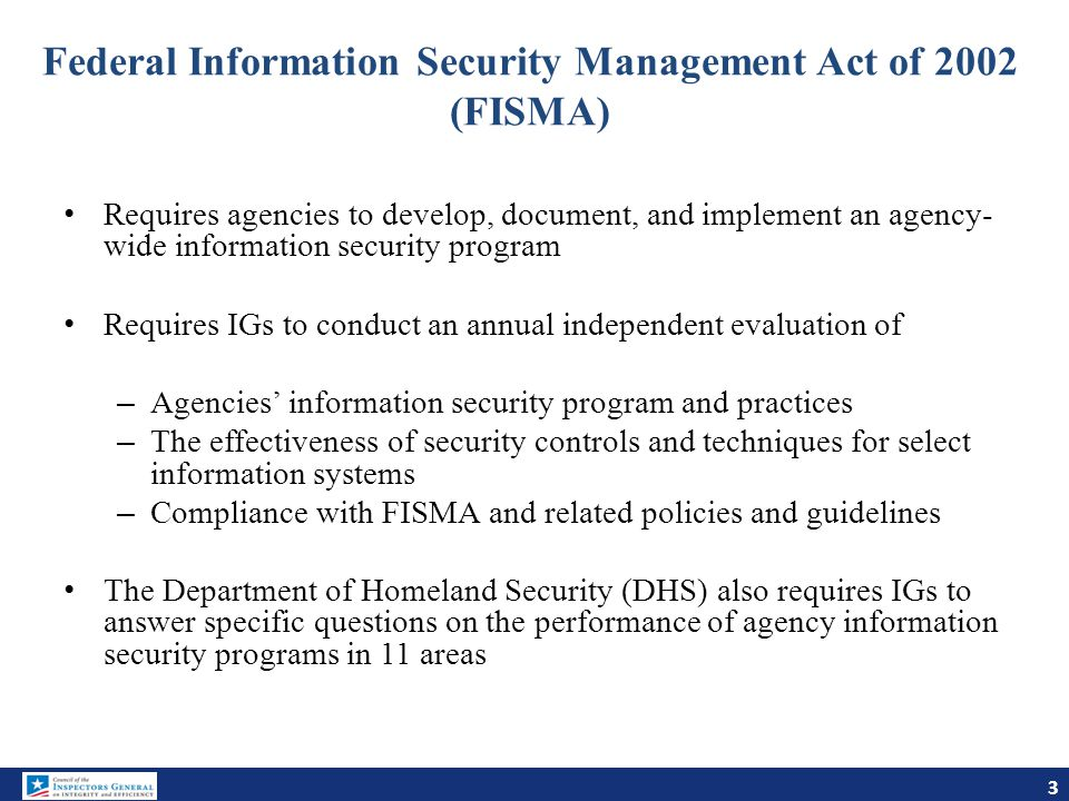 Federal Information Security Management Act of 2002 (FISMA)