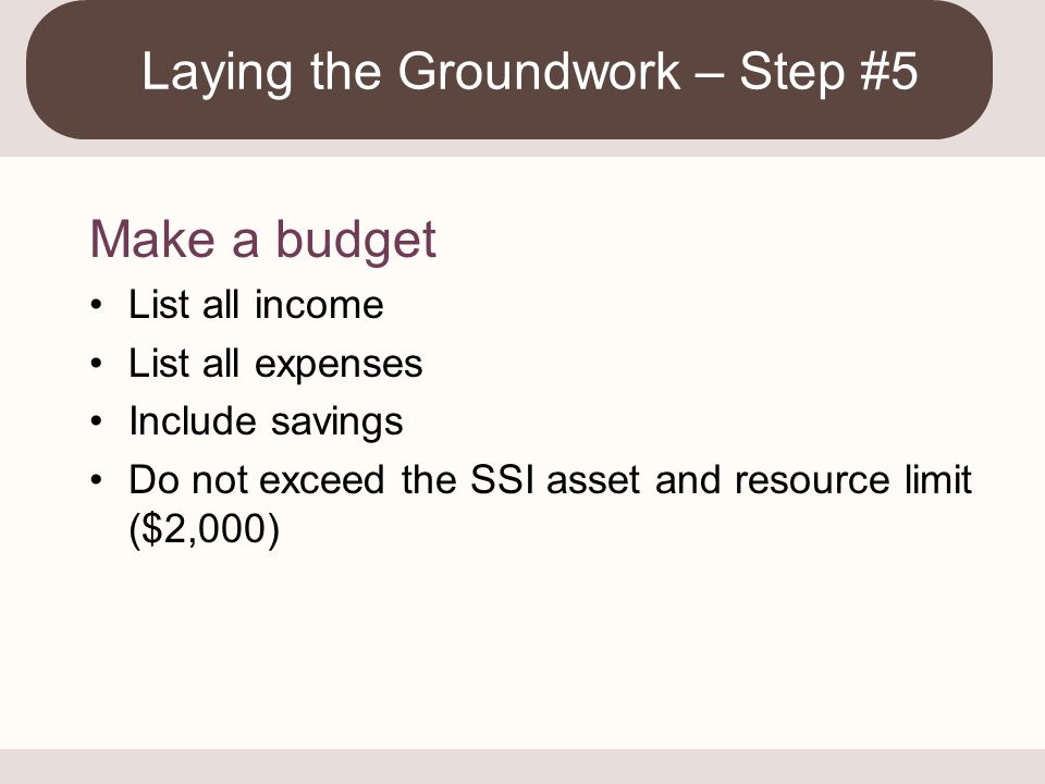 Laying the Groundwork – Step #5