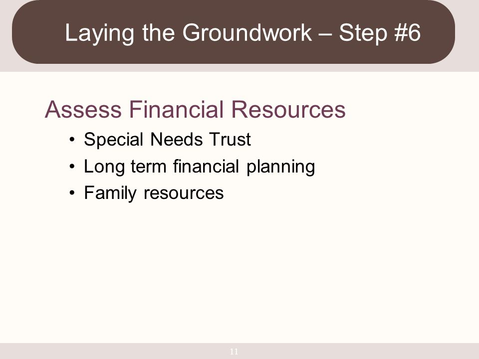 Laying the Groundwork – Step #6