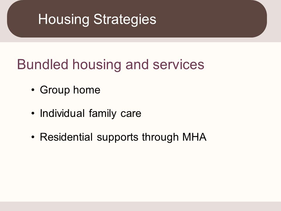 Bundled housing and services