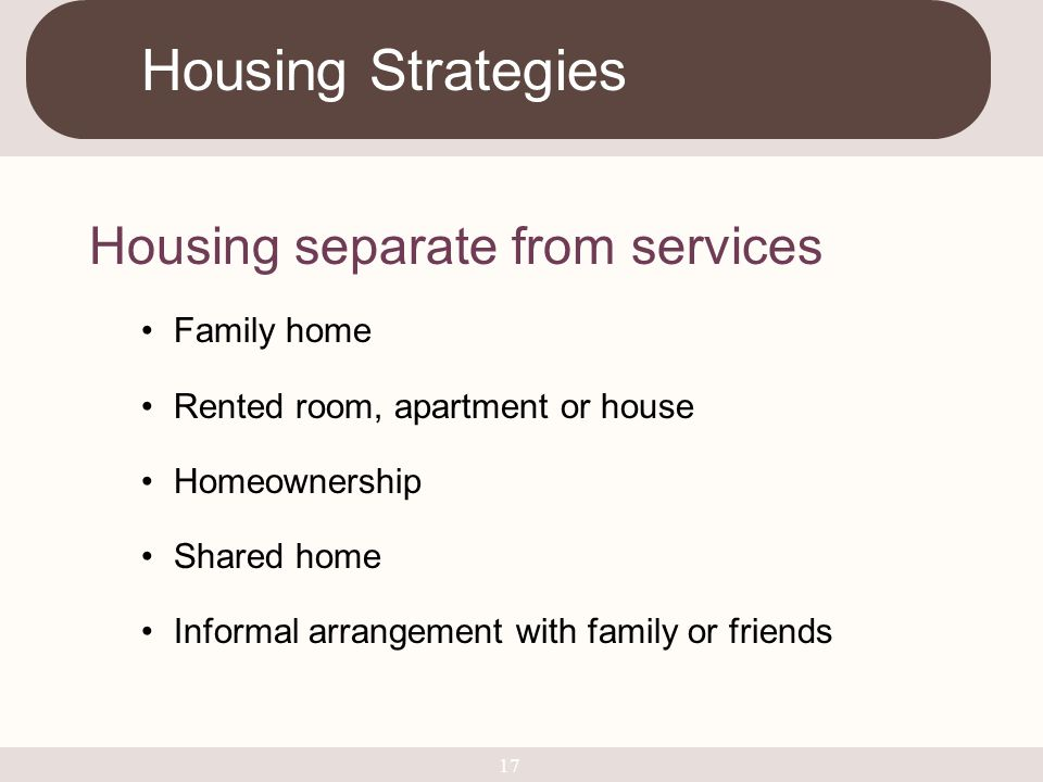 Housing Strategies Housing separate from services Family home