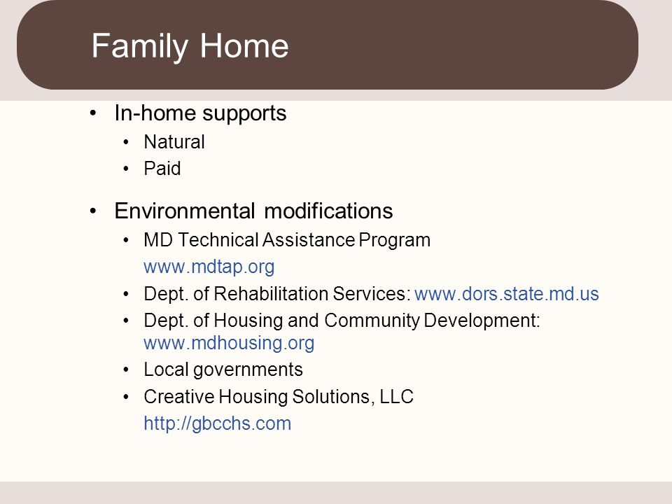 Family Home In-home supports Environmental modifications Natural Paid