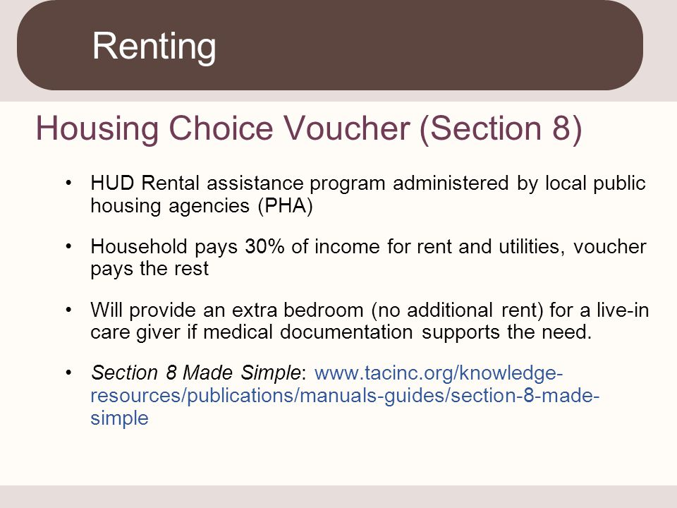Renting Housing Choice Voucher (Section 8)