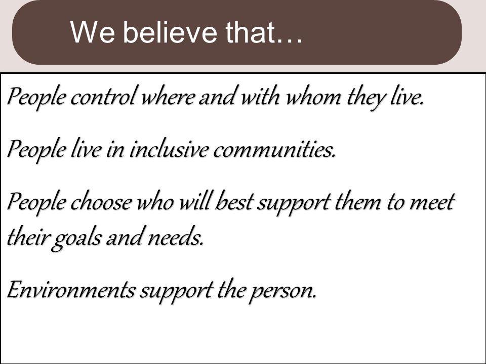We believe that…