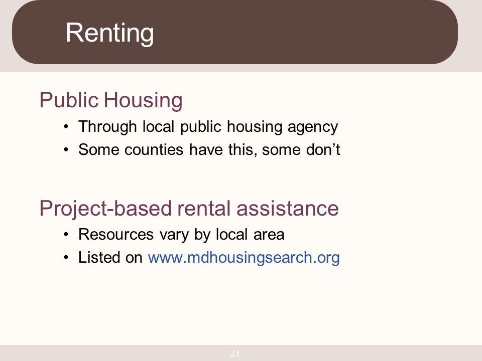 Renting Public Housing Project-based rental assistance