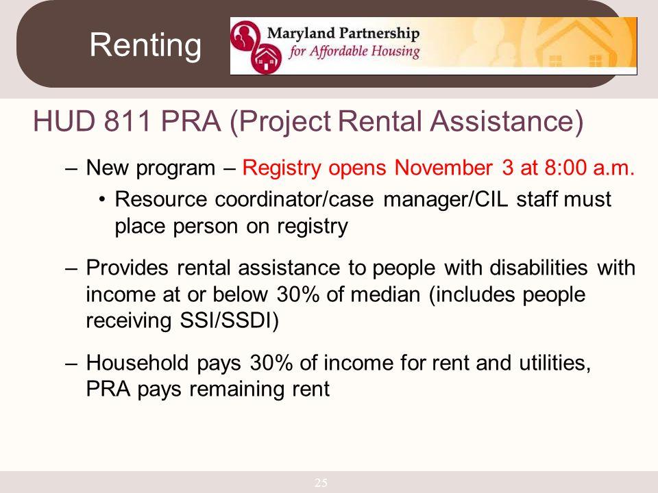 Renting HUD 811 PRA (Project Rental Assistance)
