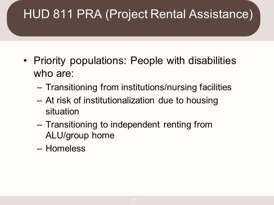 HUD 811 PRA (Project Rental Assistance)
