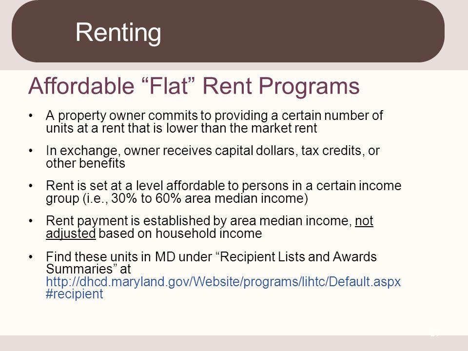 Renting Affordable Flat Rent Programs