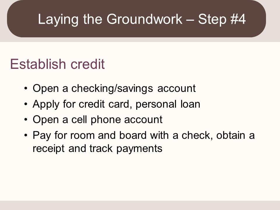 Laying the Groundwork – Step #4