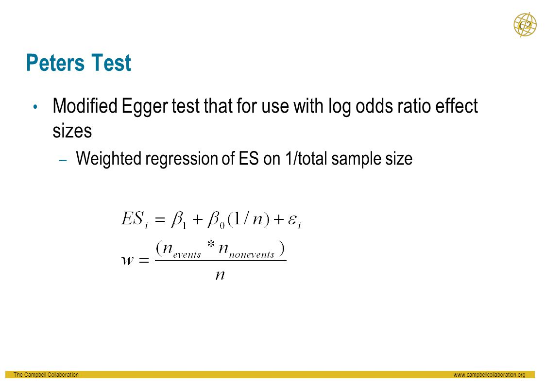 Peters Test Modified Egger test that for use with log odds ratio effect sizes.