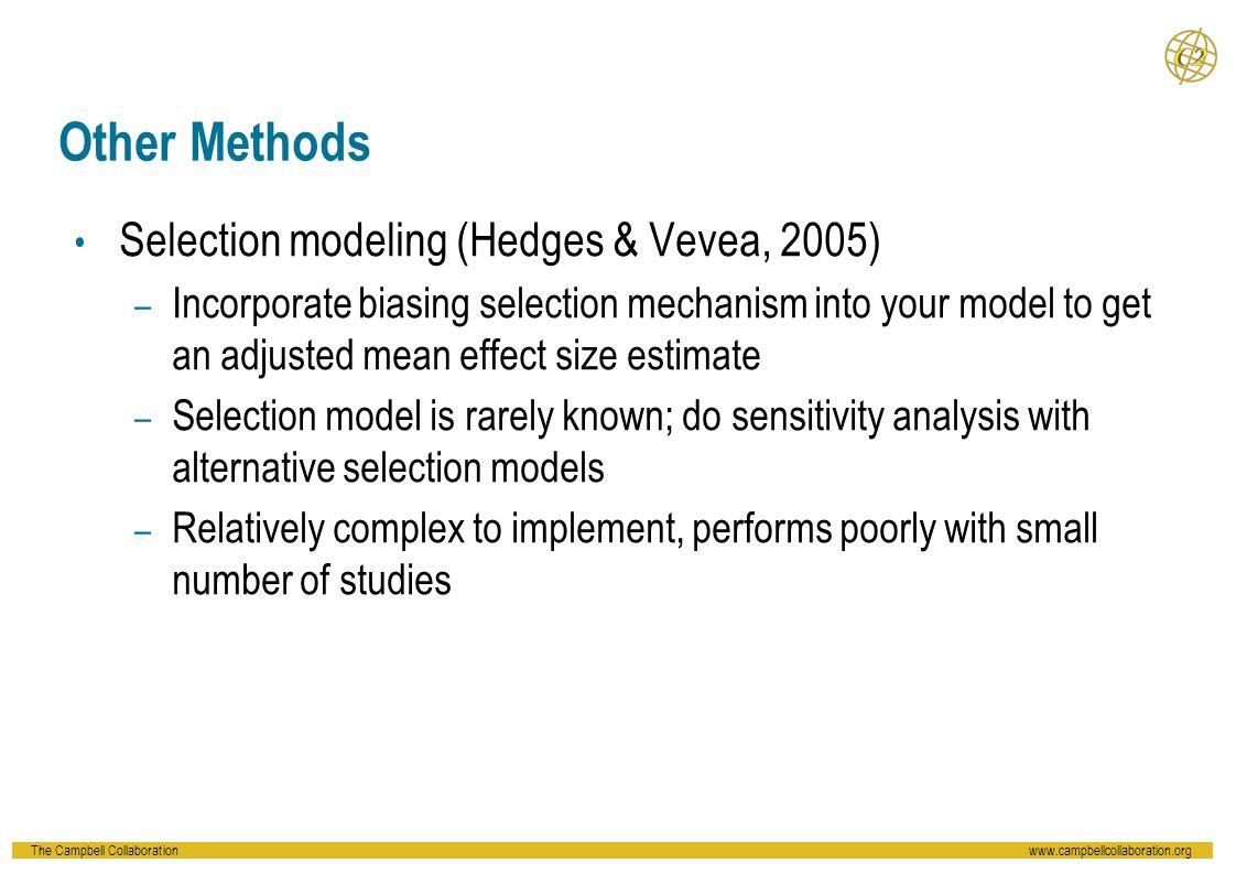 Other Methods Selection modeling (Hedges & Vevea, 2005)