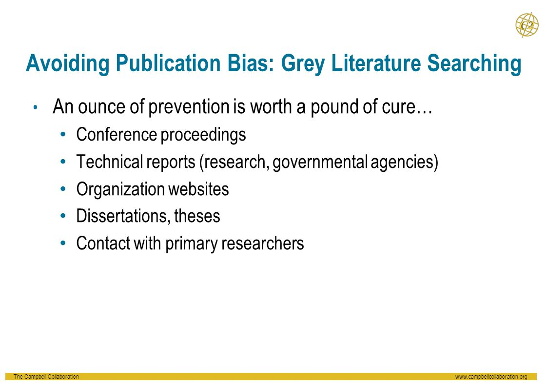 Avoiding Publication Bias: Grey Literature Searching