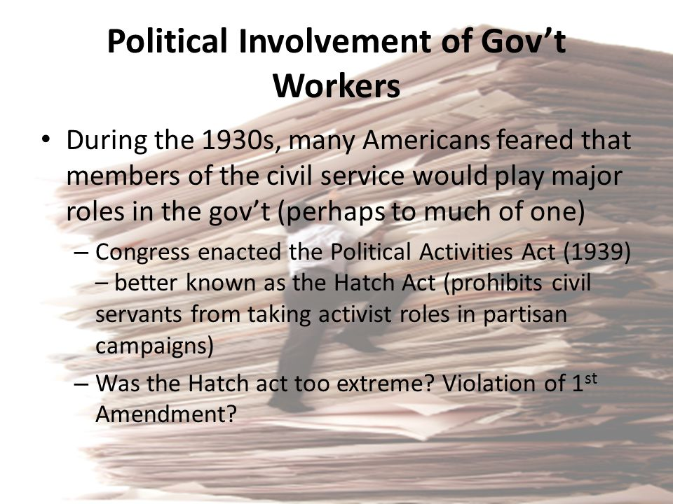 Political Involvement of Gov't Workers