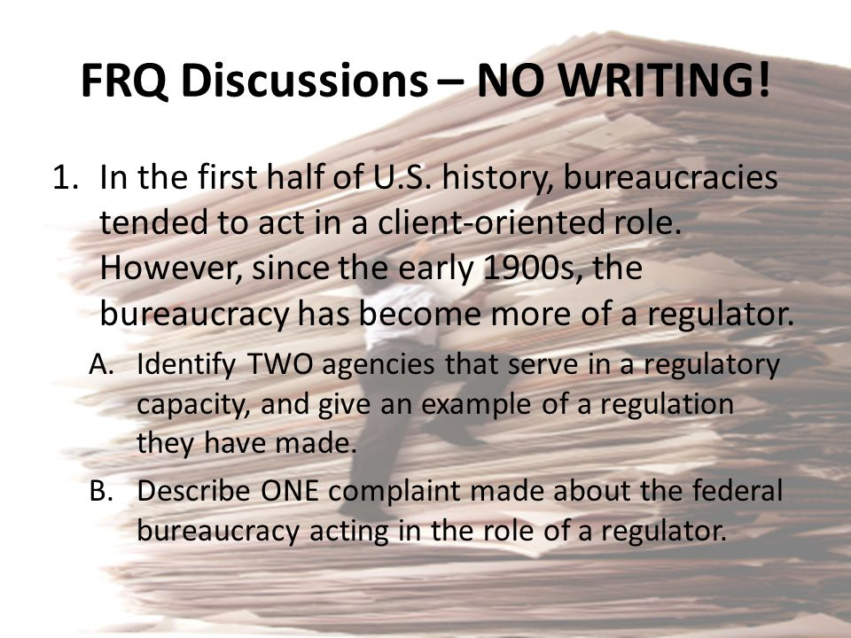 FRQ Discussions – NO WRITING!