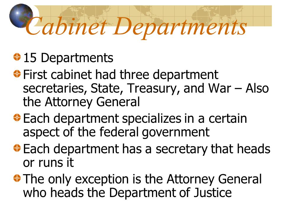 Cabinet Departments 15 Departments