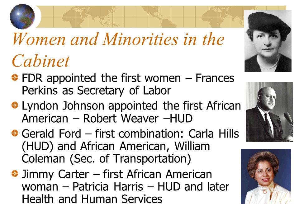 Women and Minorities in the Cabinet