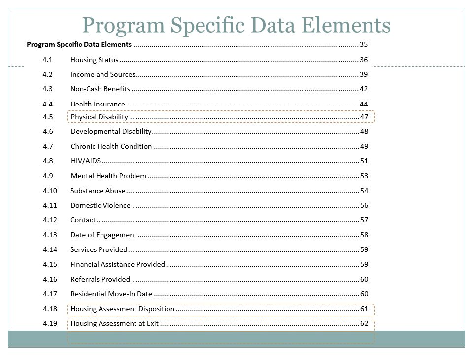PATH Program Data Elements
