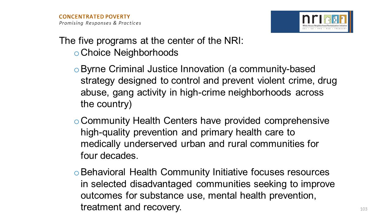 The five programs at the center of the NRI: Choice Neighborhoods