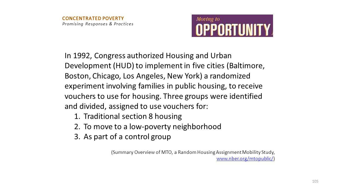 Traditional section 8 housing To move to a low-poverty neighborhood