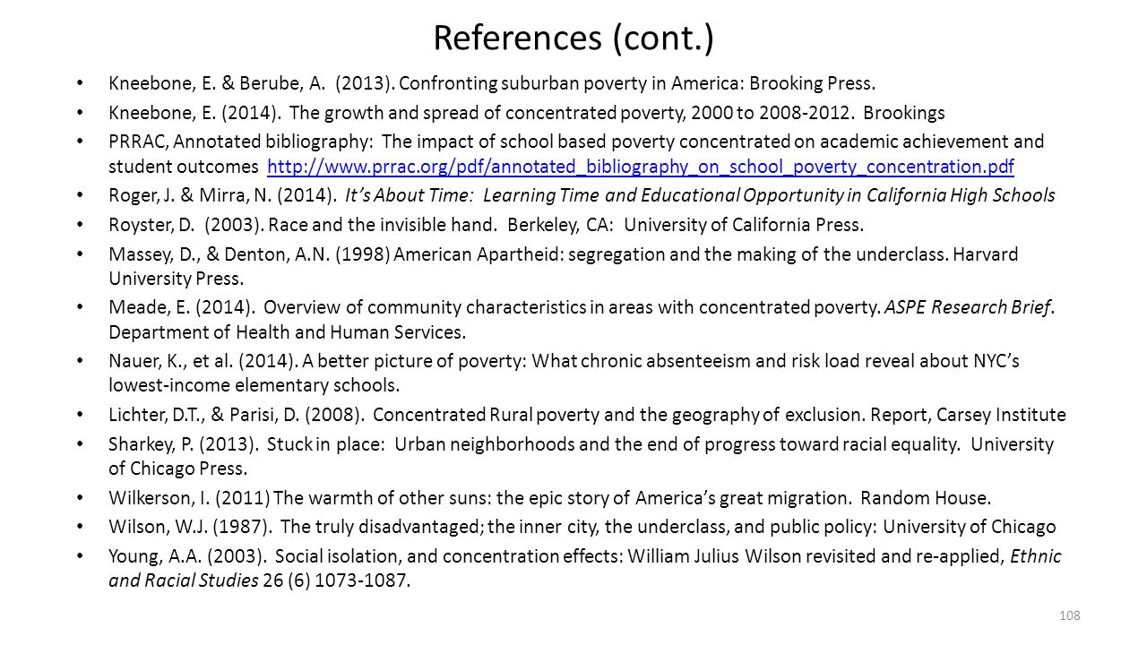 References (cont.) Kneebone, E. & Berube, A. (2013). Confronting suburban poverty in America: Brooking Press.