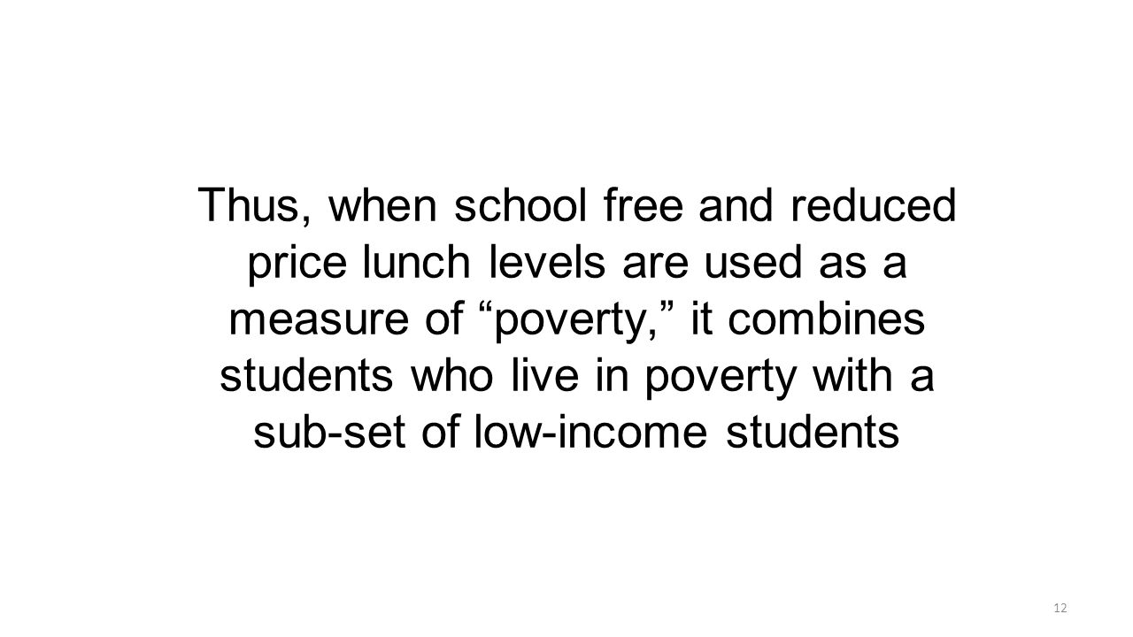 Thus, when school free and reduced price lunch levels are used as a measure of poverty, it combines students who live in poverty with a sub-set of low-income students