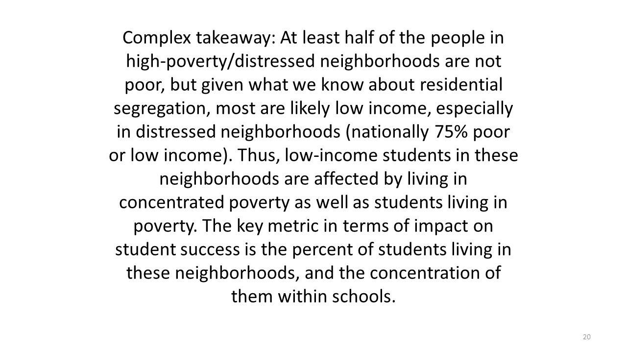 Complex takeaway: At least half of the people in high-poverty/distressed neighborhoods are not poor, but given what we know about residential segregation, most are likely low income, especially in distressed neighborhoods (nationally 75% poor or low income).